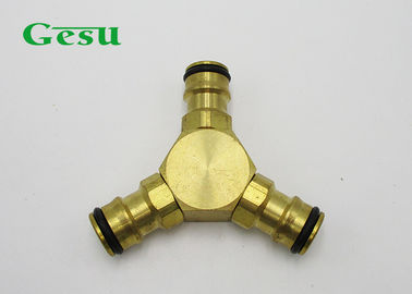 China Brass 3 Way Hose Connector Quick Coupling Hose Connection 75x65.6x17mm supplier