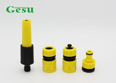 China Yellow And Black 3 Piece Nozzle Set / Adjustable Garden Hose Spray Nozzle supplier