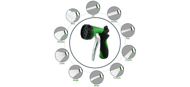 Commercial Water Hose Nozzle High Pressure 10 Pattern For Outdoor Lawn